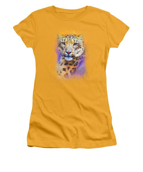 Colorful Expressions Snow Leopard Women's T-Shirt (Junior Cut) by Jai Johnson