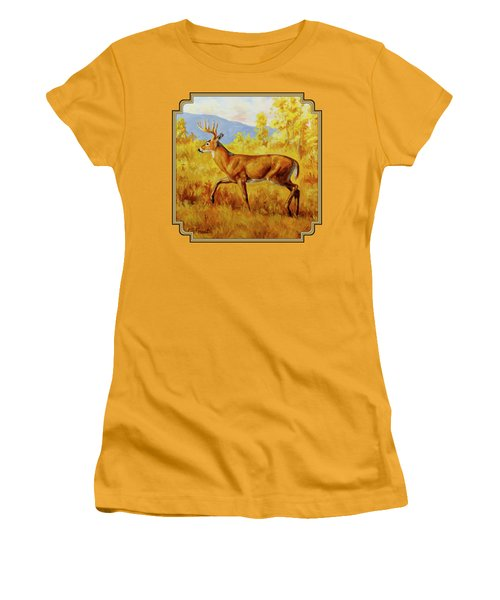 Whitetail Deer In Aspen Woods Women's T-Shirt (Athletic Fit)