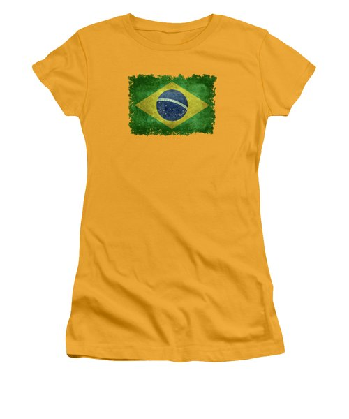 Flag Of Brazil Vintage 18x24 Crop Version Women's T-Shirt (Junior Cut) by Bruce Stanfield