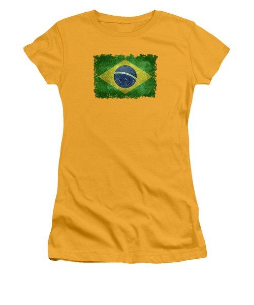Flag Of Brazil Vintage 18x24 Crop Version Women's T-Shirt (Athletic Fit)
