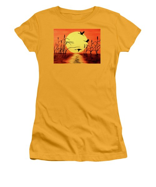 Women's T-Shirt (Athletic Fit) featuring the painting Sunset Geese by Teresa Wing