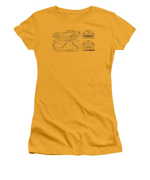 Srt Viper Blueprint Women's T-Shirt (Junior Cut) by Mark Rogan