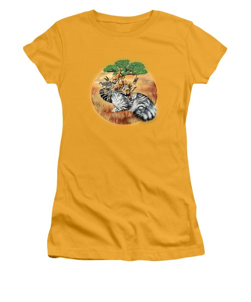 Cat In The Safari Hat Women's T-Shirt (Junior Cut)