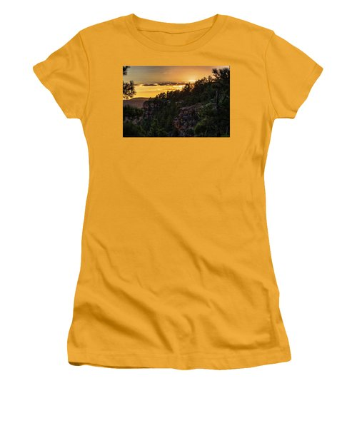 Women's T-Shirt (Athletic Fit) featuring the photograph As The Sun Sets On The Rim  by Saija Lehtonen