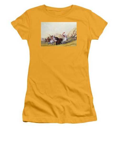Attacking The Grizzly Bear 1844 Women's T-Shirt (Athletic Fit)
