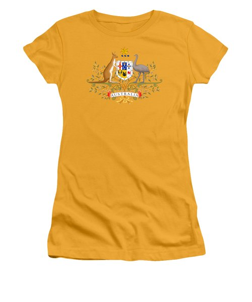 Women's T-Shirt (Junior Cut) featuring the drawing Australia Coat Of Arms by Movie Poster Prints