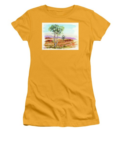 Women's T-Shirt (Junior Cut) featuring the painting Australian Landscape Sketch by Margaret Stockdale