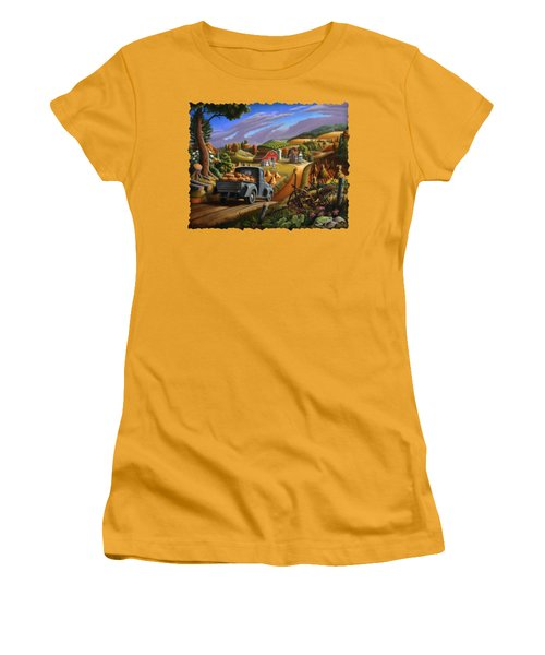 Autumn Appalachia Thanksgiving Pumpkins Rural Country Farm Landscape - Folk Art - Fall Rustic Women's T-Shirt (Junior Cut) by Walt Curlee
