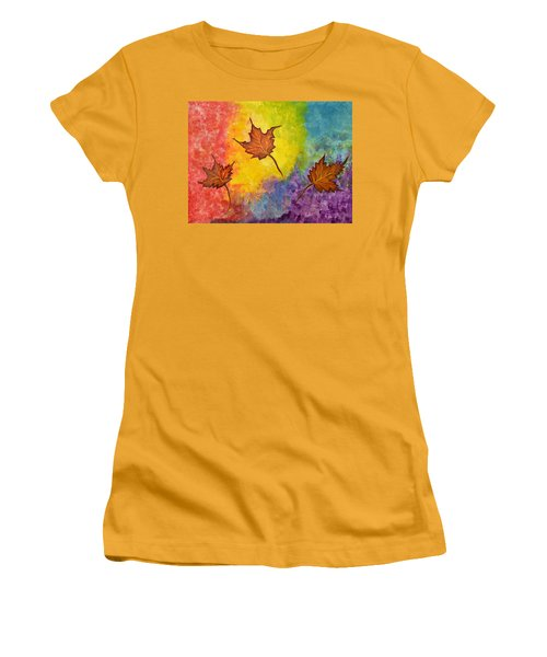 Autumn Bliss Colorful Abstract Painting Women's T-Shirt (Athletic Fit)