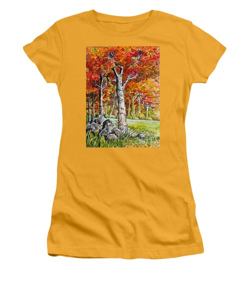 Women's T-Shirt (Junior Cut) featuring the painting Autumn Bloom by Terry Banderas