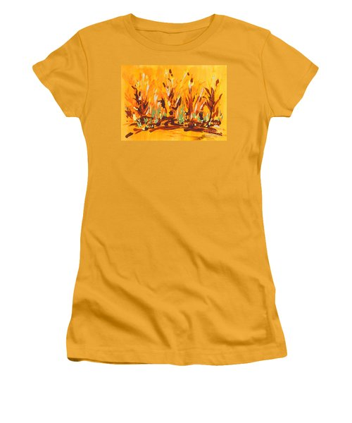 Women's T-Shirt (Junior Cut) featuring the painting Autumn Garden by Holly Carmichael