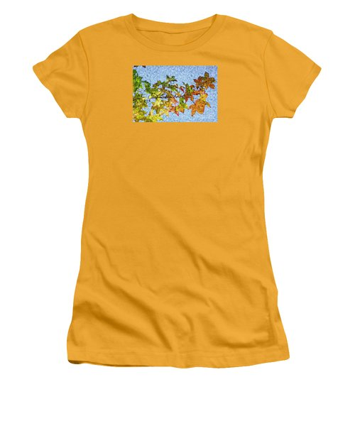 Women's T-Shirt (Junior Cut) featuring the photograph Autumn Leaves 2 by Jean Bernard Roussilhe