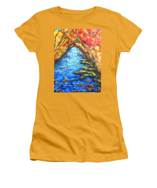 Women's T-Shirt (Junior Cut) featuring the painting Autumn Reflections 2 by Rae Chichilnitsky