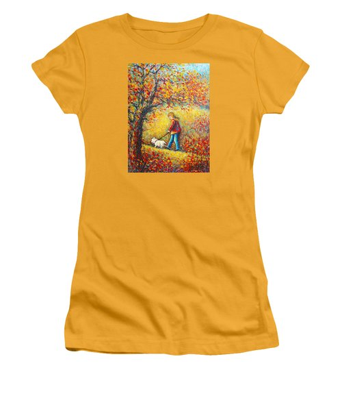 Women's T-Shirt (Junior Cut) featuring the painting Autumn Walk  by Natalie Holland