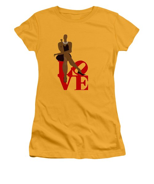 Bald Sitting On Love Women's T-Shirt (Junior Cut) by Romaine Head