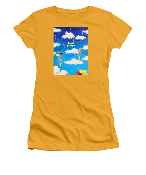 Balloon Girls Birthday Greeting Card Women's T-Shirt (Athletic Fit)
