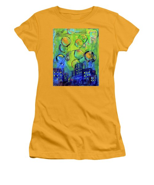 Cheerful Balloons Over City Women's T-Shirt (Athletic Fit)
