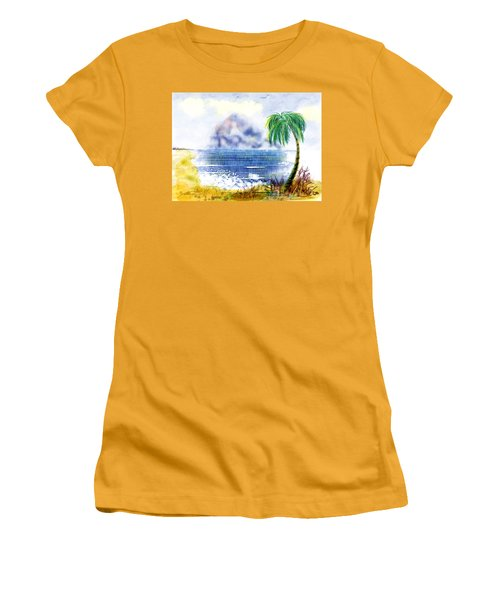 Beach And Palm Tree Of D.r.  Women's T-Shirt (Athletic Fit)
