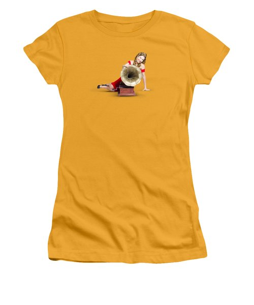 Women's T-Shirt (Junior Cut) featuring the photograph Beautiful Pinup Woman Listening To Old Gramophone by Jorgo Photography - Wall Art Gallery