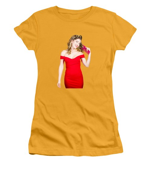 Women's T-Shirt (Junior Cut) featuring the photograph Beautiful Woman With Long Curly Hair And Brush by Jorgo Photography - Wall Art Gallery