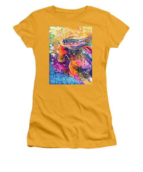Women's T-Shirt (Athletic Fit) featuring the painting Beauty Of The Prairie by Zaira Dzhaubaeva