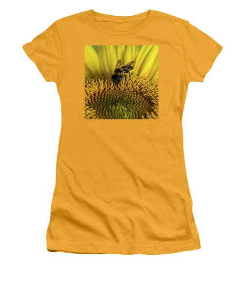 Women's T-Shirt (Junior Cut) featuring the photograph Bee In A Sunflower by Paul Freidlund