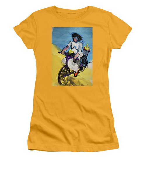 Bicycle Riding With Baskets Of Flowers Women's T-Shirt (Junior Cut) by Amara Dacer