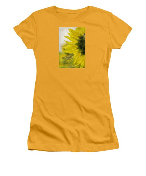 Women's T-Shirt (Junior Cut) featuring the photograph Bird On Sunflower by Betty Denise