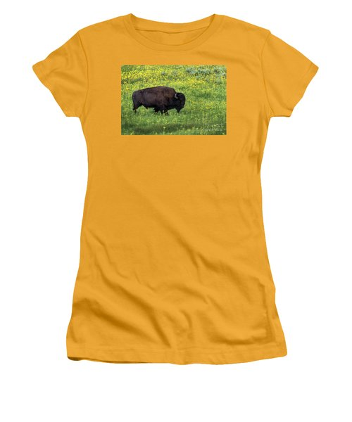 Bison Among The Wildflowers Women's T-Shirt (Athletic Fit)