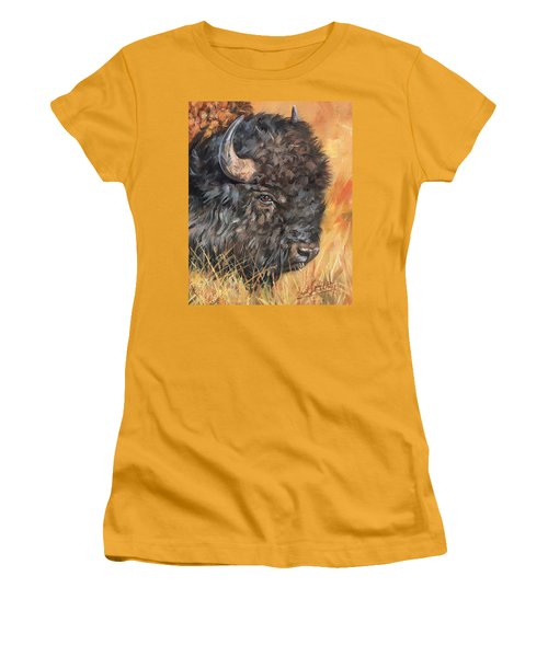 Women's T-Shirt (Junior Cut) featuring the painting Bison by David Stribbling