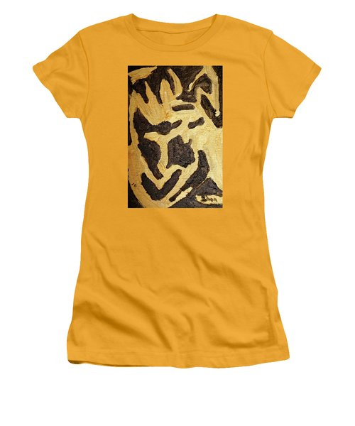 Women's T-Shirt (Junior Cut) featuring the painting Black And Gold Mask by Shea Holliman