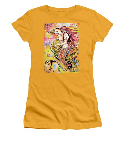 Women's T-Shirt (Junior Cut) featuring the painting Black Sea Mermaid by Eva Campbell