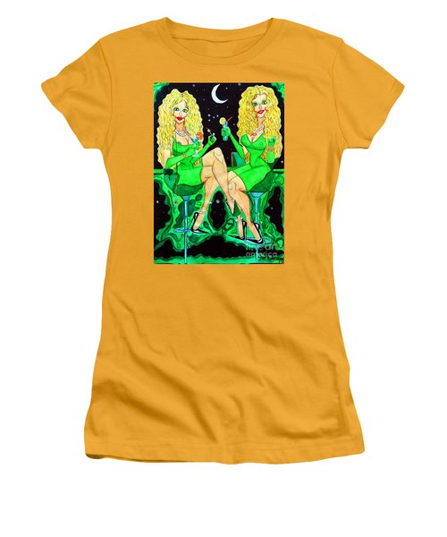 Women's T-Shirt (Junior Cut) featuring the painting Blond Girls At Disco by Don Pedro De Gracia