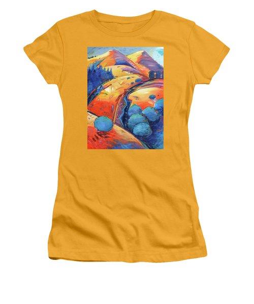 Blue And Gold Women's T-Shirt (Junior Cut) by Gary Coleman