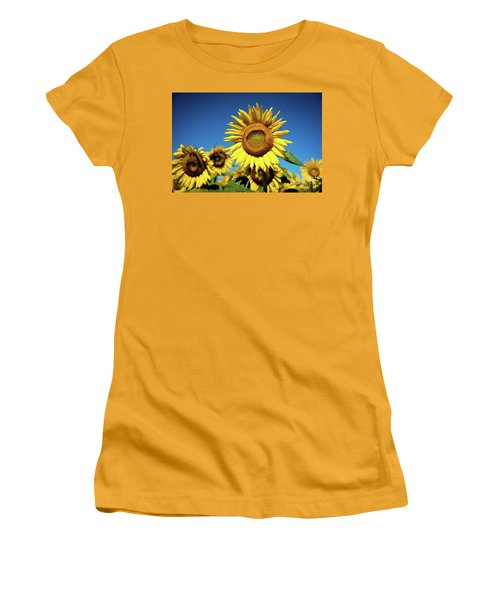 Blue And Gold Women's T-Shirt (Junior Cut) by Sandy Molinaro