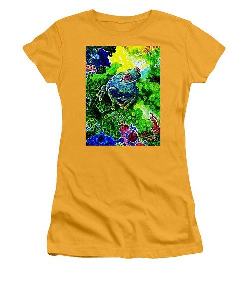 Blue  Frog Women's T-Shirt (Junior Cut) by Hartmut Jager