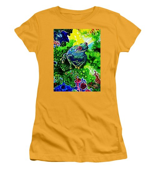 Blue  Frog Women's T-Shirt (Athletic Fit)