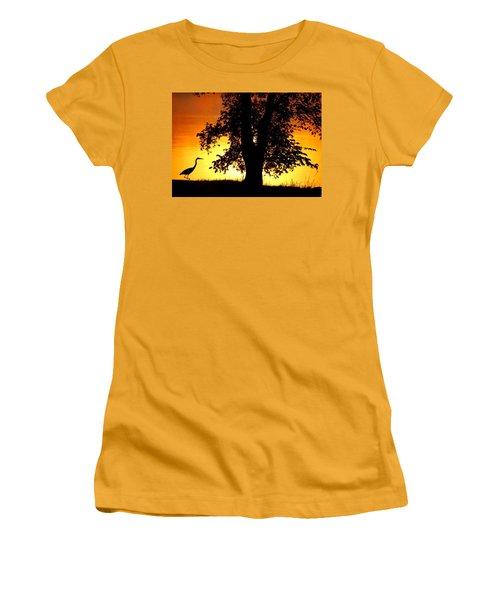 Blue Heron At Sunrise Women's T-Shirt (Athletic Fit)