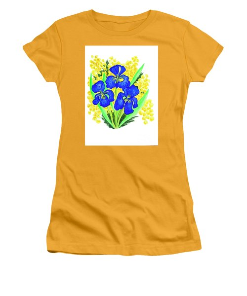 Blue Irises And Mimosa Women's T-Shirt (Athletic Fit)
