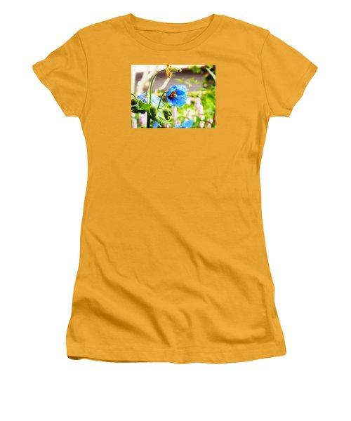Blue Poppy Women's T-Shirt (Junior Cut) by Zinvolle Art