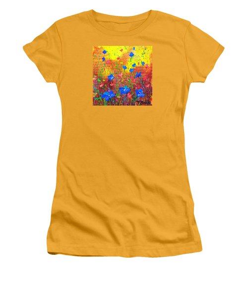 Blue Posies Women's T-Shirt (Junior Cut) by Tracy Bonin