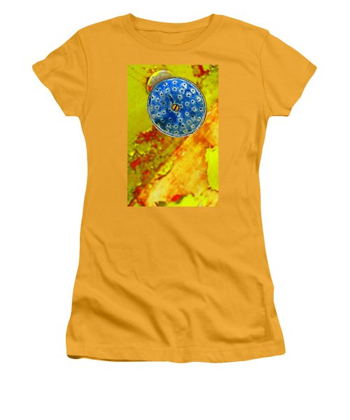 Women's T-Shirt (Junior Cut) featuring the photograph Blue Shower Head by Skip Hunt