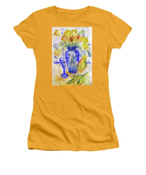 Women's T-Shirt (Junior Cut) featuring the painting Blue Vase by Jasna Dragun