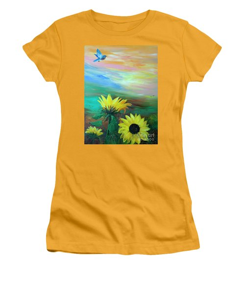Bluebird Flying Over Sunflowers Women's T-Shirt (Athletic Fit)
