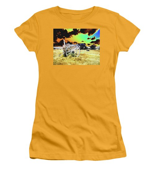 Women's T-Shirt (Junior Cut) featuring the photograph Bodie Wagon by Jim and Emily Bush