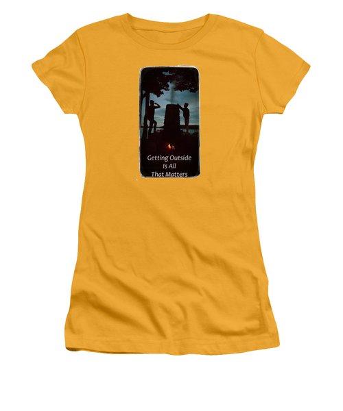 Boys Looking On Women's T-Shirt (Junior Cut) by Jeff Folger