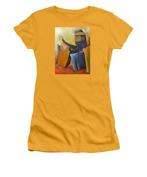 Women's T-Shirt (Junior Cut) featuring the painting Box Scape by Nadine Dennis