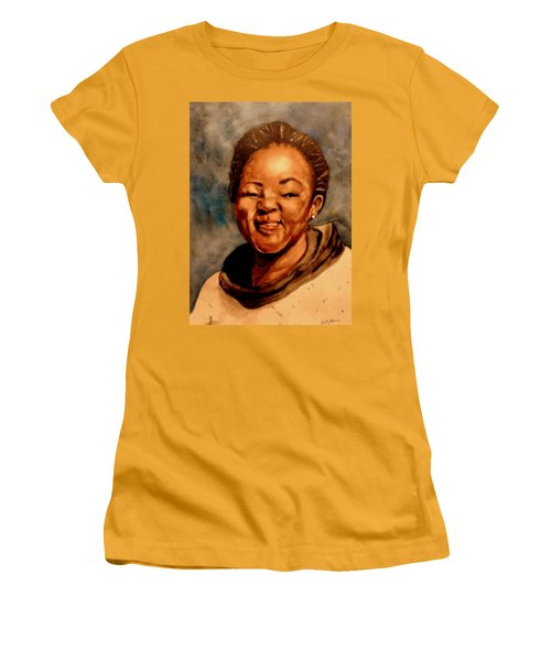 Women's T-Shirt (Junior Cut) featuring the painting Brenda  by Betty-Anne McDonald