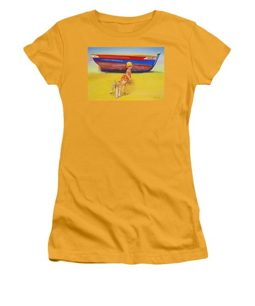 Brightly Painted Wooden Boats With Terrier And Friend Women's T-Shirt (Athletic Fit)