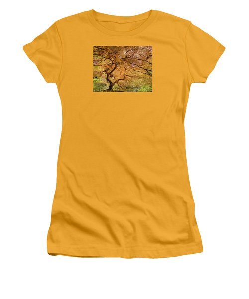 Women's T-Shirt (Athletic Fit) featuring the photograph Brilliant Japanese Maple by Wanda Krack